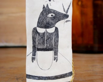 Dog Necklace, Handmade Pendant, Air Dry Clay, Pencil Drawing on Clay, Wolf Drawing on Clay, Ceramic Pendants, Jewelry Shop, Dog Lover Gift