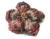 Knitted Flower Brooch in Dusky Pink, Purple and Cream with Flower Button