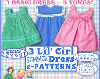 E-Z Darlin Summer DRESS Little Girl Vintage 50s e-Pattern - 3 Different Yokes - 4 Sizes 1-4T Toddler Tot Summer Easy Download Pdf PatternB