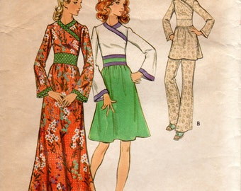 1970s Midriff Dress or Tunic Top - Vintage Pattern Butterick 6527 - B34