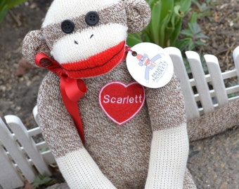Sock Monkey Doll, Personalized and Choice of Color, Valentine's Day