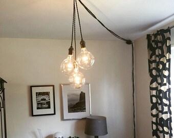 hanging light edison bulb modern industrial lighting hardwired ceiling. Black Bedroom Furniture Sets. Home Design Ideas