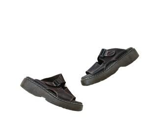Vintage Leather Sandals 7 / Brown Leather Sandals / Platform Sandals