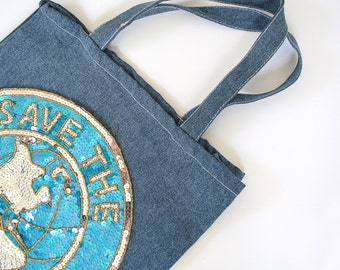 Denim Tote with Sequins- SAVE THE PLANET (Dump Trump)
