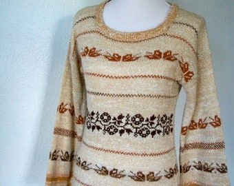 Vintage 70s cream and brown sweater with bell sleeves - sz Medium