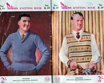 Patons R 19 Mens 1950s Vintage Knitting Patterns Book Sweaters Jackets Pullovers Vest Hat GREAT RETRO Styles in 3 Ply 4 Ply 8 Ply Yarn