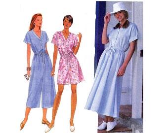 90s Dress & Jumpsuit Simplicity 9606 Long or Short Jumpsuit Rompers Womens Vintage Sewing Pattern Size 12 14 16 18 Bust 36 38 40 inch UNCUT