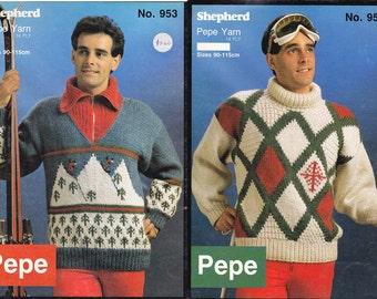 80s Mens Knitting pattern Booklet 14 ply Chunky Mens Ski Sweaters Shepherd 953 ORIGINALS NOT PDF