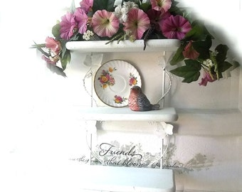 White Wrought Iron Wood Shelf . French Country.  Distressed Rustic Shelf. Decoupaged Pink Shabby Roses. Cottage Bath Painted Shelf