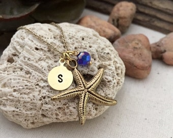 Starfish Necklace, Initial Necklace, Hand stamped Necklace, Best friend Gift, Handmade Jewelry
