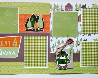 12x12 Outdoors premade scrapbook - 12x12 scrapbook - Premade scrapbook layout - 12x12 Premade scrapbook page - Scrapbook premade pages 12x12