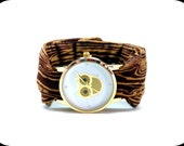 Owl Fabric Wrist Cuff Watch with Wood Grain Band