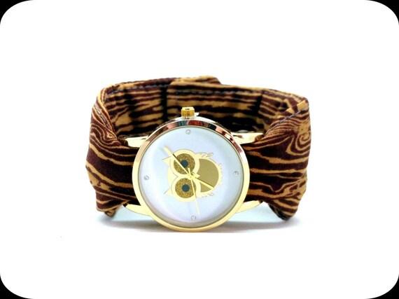 chouette tissu brassard montre bracelet avec bande de grain de. Black Bedroom Furniture Sets. Home Design Ideas