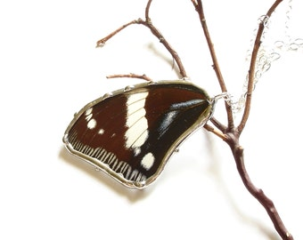 Real Butterfly Necklace, Butterfly Wing Pendant, Hypolimnas Dexithea