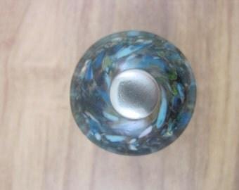 Hand Made Flamework Glass Knob- Cornflower