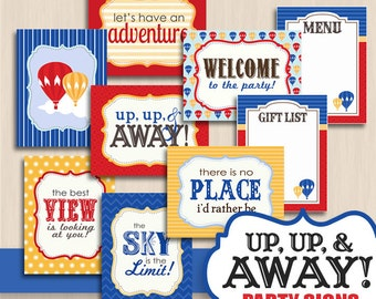BALLOON 8X10 SIGNS in Navy Blue and Red- Instant Printable Download