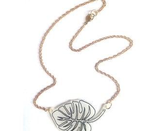 Monstera Leaf Necklace