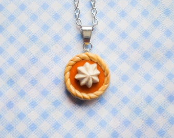Pumpkin Pie Necklace, Pie Necklace, Food Necklace, Dessert Necklace, Pumpkin Pie, Polymer Clay, Charm Necklace, Miniature Food, Penant