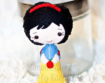 "4.75"" Snow White Felt Doll - Made to Order - Handmade Miniature Doll - Fairy Tale Doll - Snow White Doll - Gingermelon Doll"