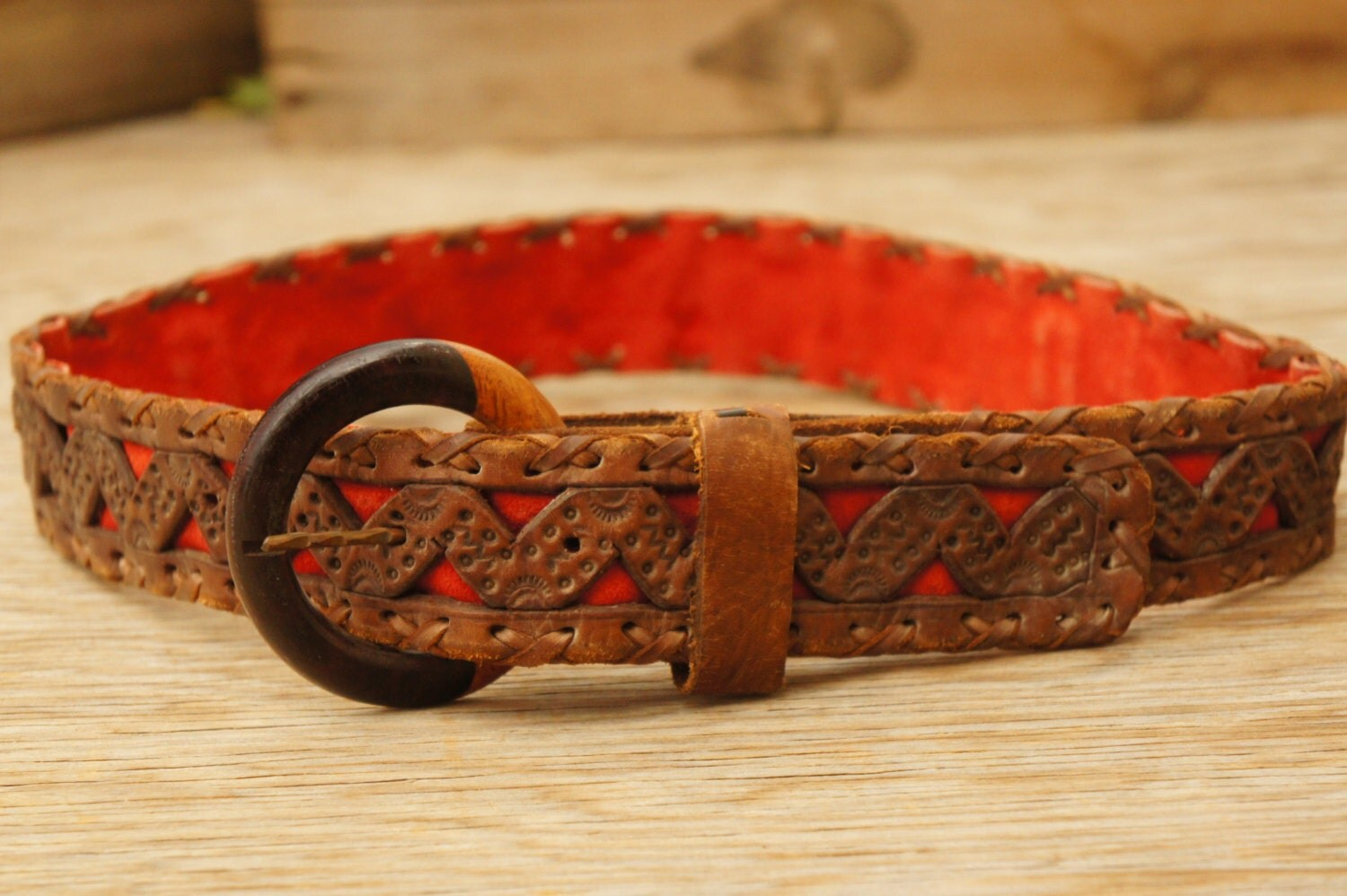 vintage 70s mexican tooled leather belt hippie boho