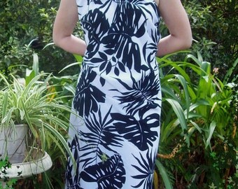 Black and White Tropical One Shoulder Dress - Custom Made - Prom - Wedding - Cruise