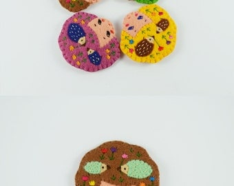 44% SALE Fantasia Cookie Girl Head Felt Brooch / Whimsical Hedgehog Romance Felt Brooch / Tiny Hedgehogs Brooch / Girl Head Pin