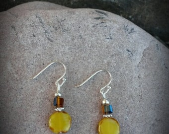 Country Yellow and Silver Earrings, Yellow Brown Silver Earrings, Small Yellow Silver Earrings
