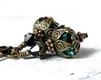 Victorian Dark Green Crystal Earrings Emerald Earrings Forest Green Earrings Swarovski Antique Brass Dangles Birthstone Gift for Her Wife
