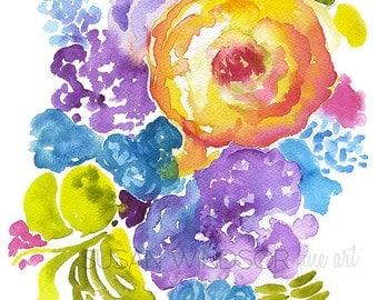 Abstract Floral Watercolor Painting Giclee Print 8 x 10 Floral Bouquet - 11 x 8.5 Fine Art Print