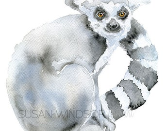Lemur Watercolor Painting - 11 x 14 - Giclee Reproduction - Animal Painting Wall Art - Madagascar