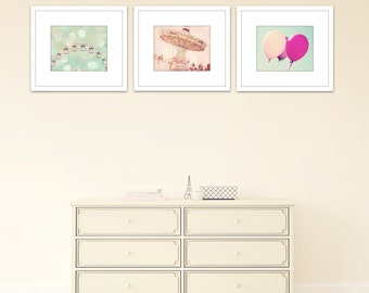 nursery decor set of 3 prints carnival photography nursery art little girls bedroom pink and mint wall art ferris wheel art balloon art