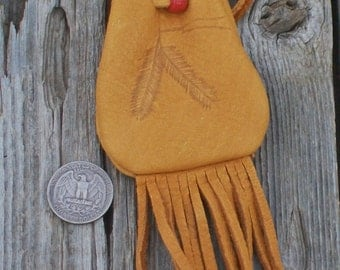 Fringed leather medicine bag with feathers , Fringed amulet bag , Leather neck bag