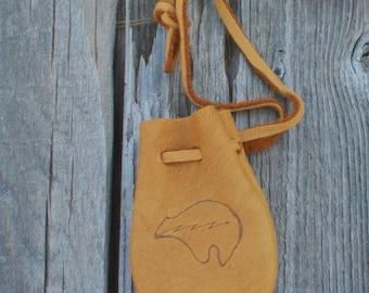 Tribal medicine bag with heartline bear totem , Leather amulet bag , Talisman bag