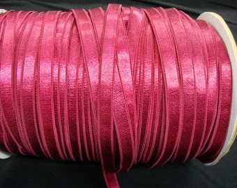 "3 yards 3/8"" Black Raspberry Satin elastic / stretch satin ribbon has one side shine"