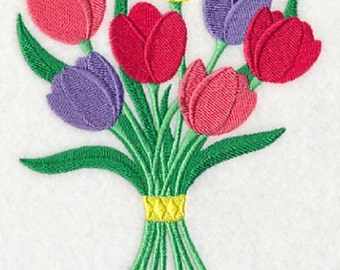 Pretty Tulip Bouquet Embroidered Quilt Block or Cotton Kitchen Hand Towel