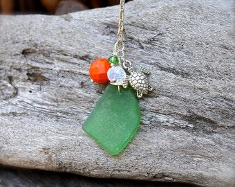 Sea Glass Jewelry from Hawaii - Hawaiian Honu Necklace - Honu & Seaglass Jewelry - Sea Turtle Necklace - Sea Turtle Jewelry made in Hawaii