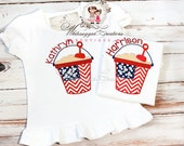Sale Fourth of July Flag Bucket applique Shirt with Monogram - Personalized shirt - Independence Day Shirt