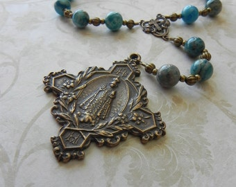 Chaplet of the Holy Infant of Prague - Catholic Rosary Beads - Antique Bronze - Blue - Child Jesus
