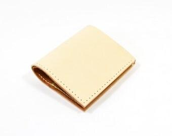 Veg Tan Brown Leather Bi Fold Card Bill Wallet Handmade
