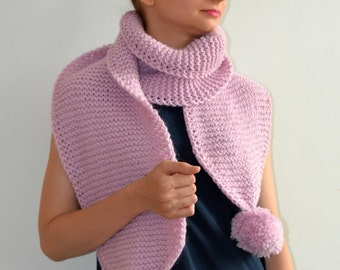 The Pom. Large Oversized Super Chunky Alpaca Wool Scarf with PomPoms. Powder Pink
