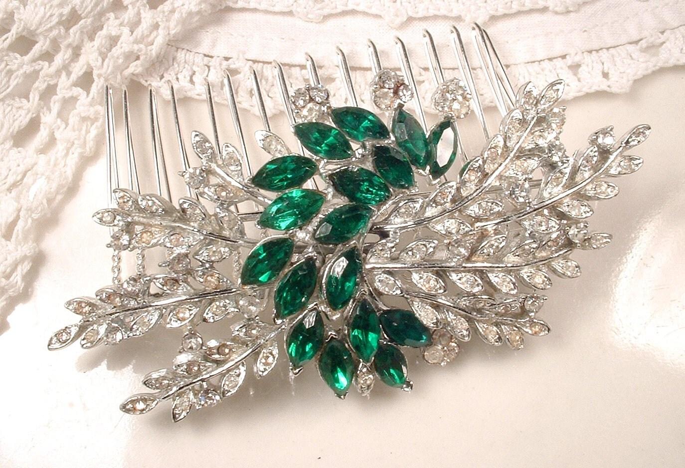 Emerald Green Rhinestone Leaf Hair Comb Or Sash Brooch Silver