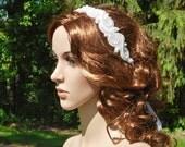 Pearl Sequin Beaded Ribbon Tie Adjustable Bridal Headband Headpiece Dress Sash Belt Handmade