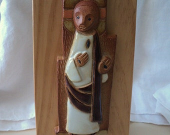 Modern Sculpture Ceramic Christ on Wood