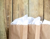 Lace Edged Paper Bags - bulk amount of kraft brown or white gift bags with hand punched lace