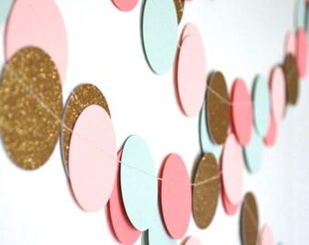 Blush Pink, Mint, Glitter Gold and Coral Confetti Large Circles Garland
