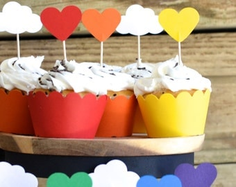 12 Rainbow Heart Cupcake Picks, custom colors available