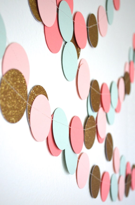 Blush Pink, Mint, Glitter Gold and Coral Confetti Large Circles Garland