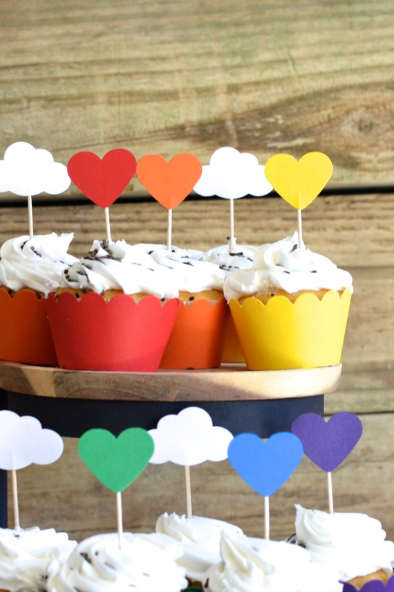 12 Rainbow Heart Cupcake Picks, choose from red, orange, yellow, green, blue or purple - custom colors available