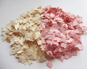 Wedding confetti, light pink and ivory and pink confetti, paper confetti hearts confetti ivory and pink baby shower wedding shower