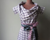RESERVED Cowl Neck Tunic Bouse with Necktie Belt, Made from Upcycled Man's Dress Shirt and Repurposed Neckties